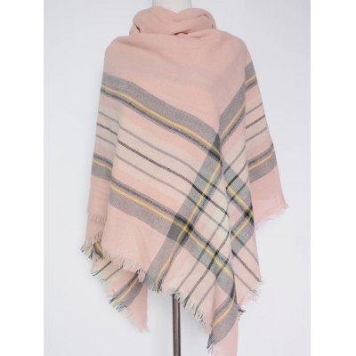 Casual Plaid Pattern Fringed Big Square Scarf