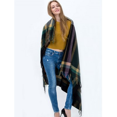 Plaid Pattern Tassel Big Square Scarf