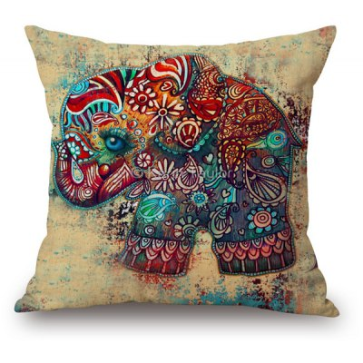 Ethnic Style Floral Elephant Pattern Printed Sofa Cushion Pillow Case
