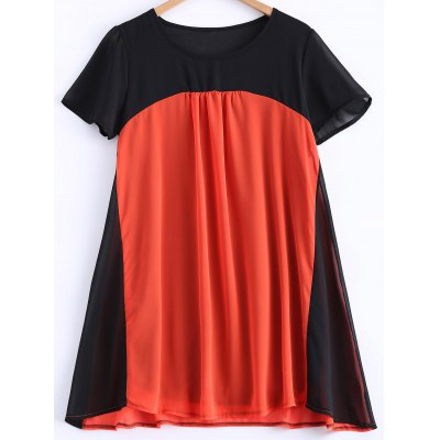Pleated Color Spliced Chiffon Dress