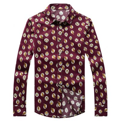 Owl Printed Plus Size Turn-Down Collar Long Sleeve Shirt