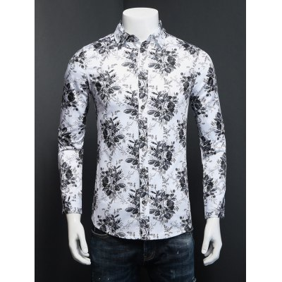Tiny Floral Printed Plus Size Turn-Down Collar Long Sleeve Shirt