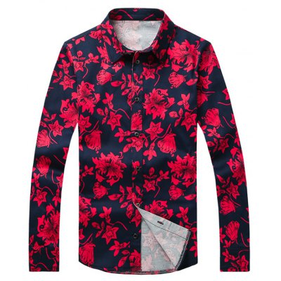 Flower Printed Plus Size Turn-Down Collar Long Sleeve Shirt