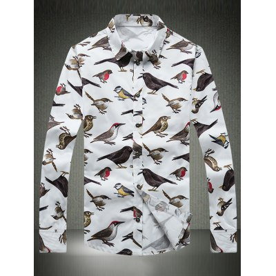 Colorful Birds Printed Plus Size Turn-Down Collar Long Sleeve Shirt