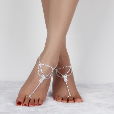 Rhinestoned Hollow Out Anklets