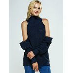 Cold Shoulder Turtle Neck Pure Color Sweater deal