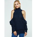 cheap Cold Shoulder Turtle Neck Pure Color Sweater