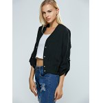 Hemming Sleeves Elastic Waist Ruched Jacket for sale