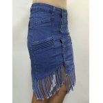cheap High Waist Buttoned Fringed Skirt