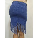 High Waist Buttoned Fringed Skirt for sale