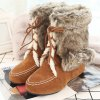 Hairball Lace Up Faux Fur Ankle Suede Snow Boots deal