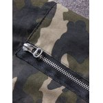 Plus Size Rib Spliced Stand Collar Long Sleeve Appliques Camouflage Jacket deal