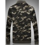 cheap Plus Size Rib Spliced Stand Collar Long Sleeve Appliques Camouflage Jacket
