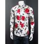 cheap 3D Rose Printed Plus Size Turn-Down Collar Long Sleeve Shirt
