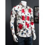 3D Rose Printed Plus Size Turn-Down Collar Long Sleeve Shirt deal