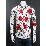 3D Rose Printed Plus Size Turn-Down Collar Long Sleeve Shirt