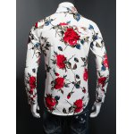 3D Rose Printed Plus Size Turn-Down Collar Long Sleeve Shirt for sale