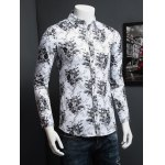 cheap Tiny Floral Printed Plus Size Turn-Down Collar Long Sleeve Shirt