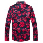 cheap Flower Printed Plus Size Turn-Down Collar Long Sleeve Shirt