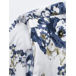 3D Flower Printed Plus Size Turn-Down Collar Long Sleeve Shirt deal
