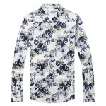 cheap 3D Flower Printed Plus Size Turn-Down Collar Long Sleeve Shirt