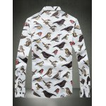 cheap Colorful Birds Printed Plus Size Turn-Down Collar Long Sleeve Shirt