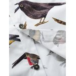 Colorful Birds Printed Plus Size Turn-Down Collar Long Sleeve Shirt photo