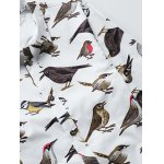 Colorful Birds Printed Plus Size Turn-Down Collar Long Sleeve Shirt deal