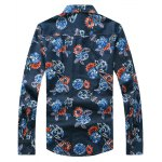cheap 3D Flower Printed Plus Size Turn-Down Collar Long Sleeve Denim Shirt