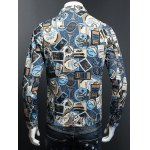 Stamp Print Plus Size Turn-Down Collar Long Sleeve Denim Jacket deal