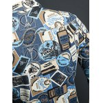 best Stamp Print Plus Size Turn-Down Collar Long Sleeve Denim Jacket