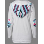 cheap Geometric Print Long Sleeve Hoodie