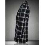 cheap Checked Plus Size Turn-Down Collar Long Sleeve Single-Breasted Coat