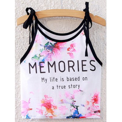 Sweet Spaghetti Strap Lace-Up Floral Print Crop Top For Women