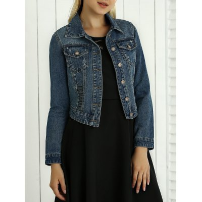 Hollow Out Pocket Topstitching Jacket