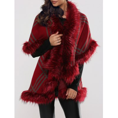 Batwing Sleeve Tiered Furry Coat