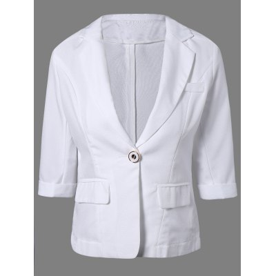 One Button Slimming Plain Blazer