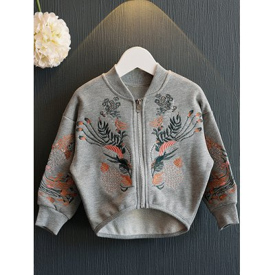High-Low Retro Embroidery Jacket