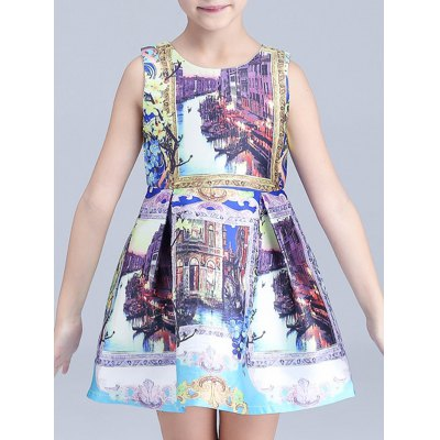 Scenery Print Mini Princess Dress