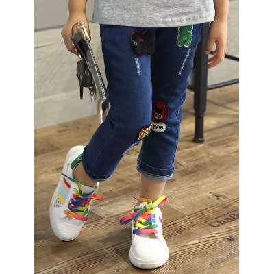 Embroidery Elastic Waist Straight JeansGirls Clothing<br>Embroidery Elastic Waist Straight Jeans<br><br>Material: Polyester<br>Length: Normal<br>Fabric Type: Denim<br>Wash: Destroy Wash<br>Fit Type: Regular<br>Waist Type: Mid<br>Closure Type: Elastic Waist<br>Pant Style: Straight<br>Weight: 0.243kg<br>Package Contents: 1 x Jeans