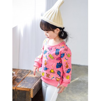 Cartoon Print Pullover SweatshirtGirls Clothing<br>Cartoon Print Pullover Sweatshirt<br><br>Type: Pullovers<br>Material: Polyester<br>Sleeve Length: Full<br>Collar: Round Neck<br>Style: Casual<br>Weight: 0.176kg<br>Package Contents: 1 x Sweatshirt
