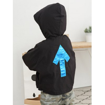 Arrow Embroidered Button Hooded Jacket