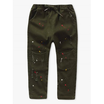 Drawsting Painting Hole Pants