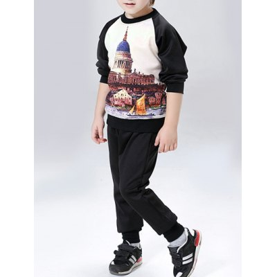 Castle Print Long Sleeve Sweatshirt + PantsBoys Clothing<br>Castle Print Long Sleeve Sweatshirt + Pants<br><br>Material: Polyester<br>Clothing Length: Regular<br>Sleeve Length: Full<br>Style: Fashion<br>Weight: 0.350kg<br>Package Contents: 1 x Sweatshirt   1 x Pants