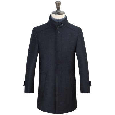 Stand Collar Covered Button Coat