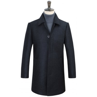 Turn-Down Collar Covered Button Coat