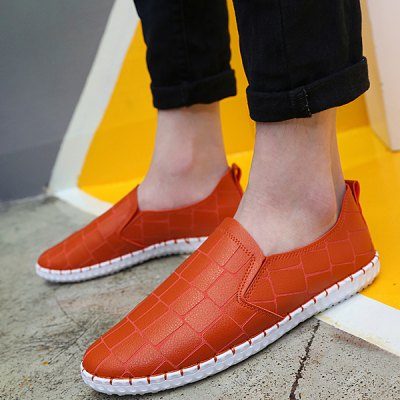 Slip On Stitching Stone Pattern Casual Shoes