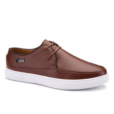 Letter Textured Leather Casual Shoes