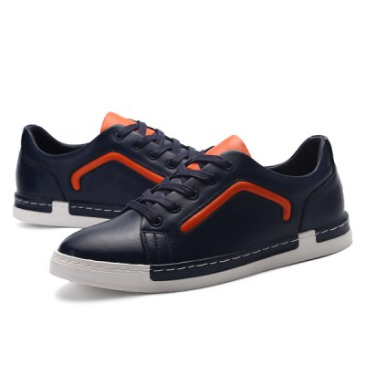 Lace-Up PU Leather Color Block Casual Shoes