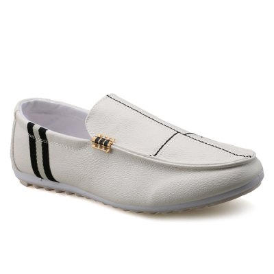PU Leather Slip-On Stitching Loafers